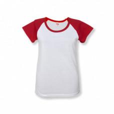 Футболка женская «Color», хлопок и имитация хлопка, красный рукав 52 (2XL)