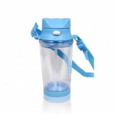 Бутылка для воды пластик с голубой крышкой с ремешком и носиком под полиграф вставку 310 мл
