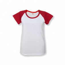 Футболка женская «Color», хлопок и имитация хлопка, красный рукав 50 (XL)