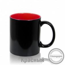 Кружка керамика хамелеон черная внутри красная стандарт 330мл
